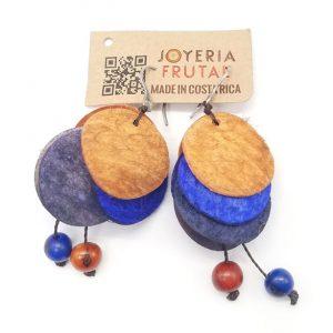 Aretes de Mango - Marron combinado con azul