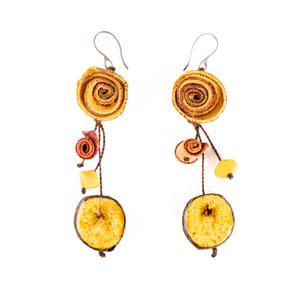 Aretes de Naranja y Banano - Amarillo
