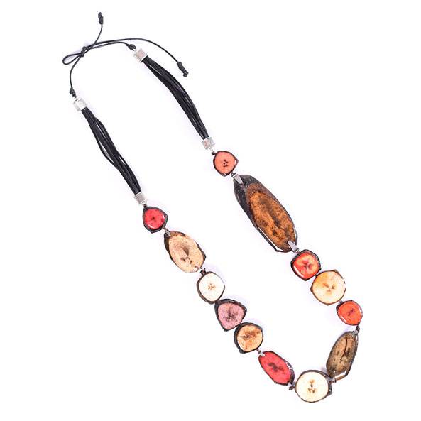 Collar Largo Gabán de Banano - Combinado de rojos