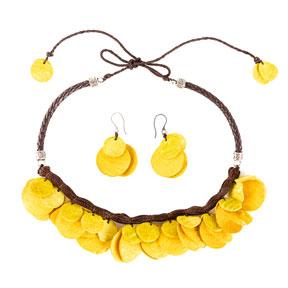 Collar y aretes de semillas de Mango - Amarillo