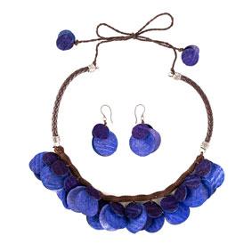 Collar y aretes de  semillas de Mango - Azul