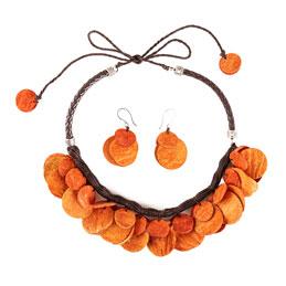 Collar y aretes de semillas de Mango - Naranja
