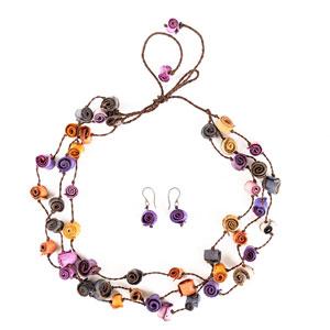 Collar y aretes de cáscaras de naranja - multicolor violetas
