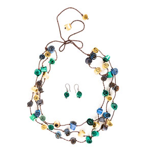 Collar y aretes de cáscaras de naranja - multicolor azules