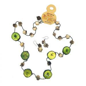 Collar Safari banano y naranja - tonos verdes
