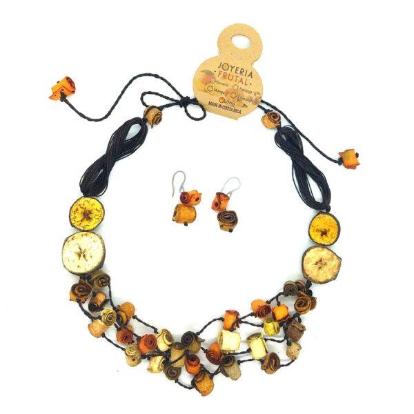 Collar y aretes de cáscaras de naranja -tonos  Naranjas