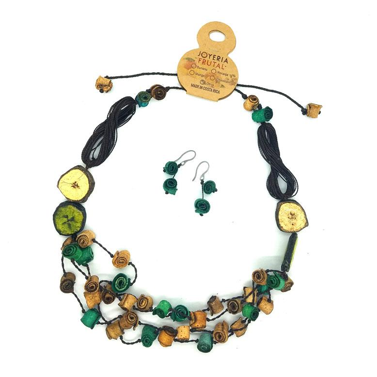 Collar y aretes de cáscaras de naranja - tonos Verde