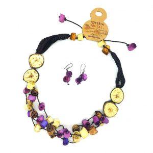 Collar y aretes de cáscaras de naranja - Violeta
