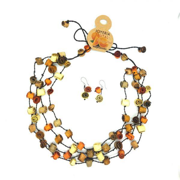 Collar rollitos de  naranja y aretes  - multicolor tierra