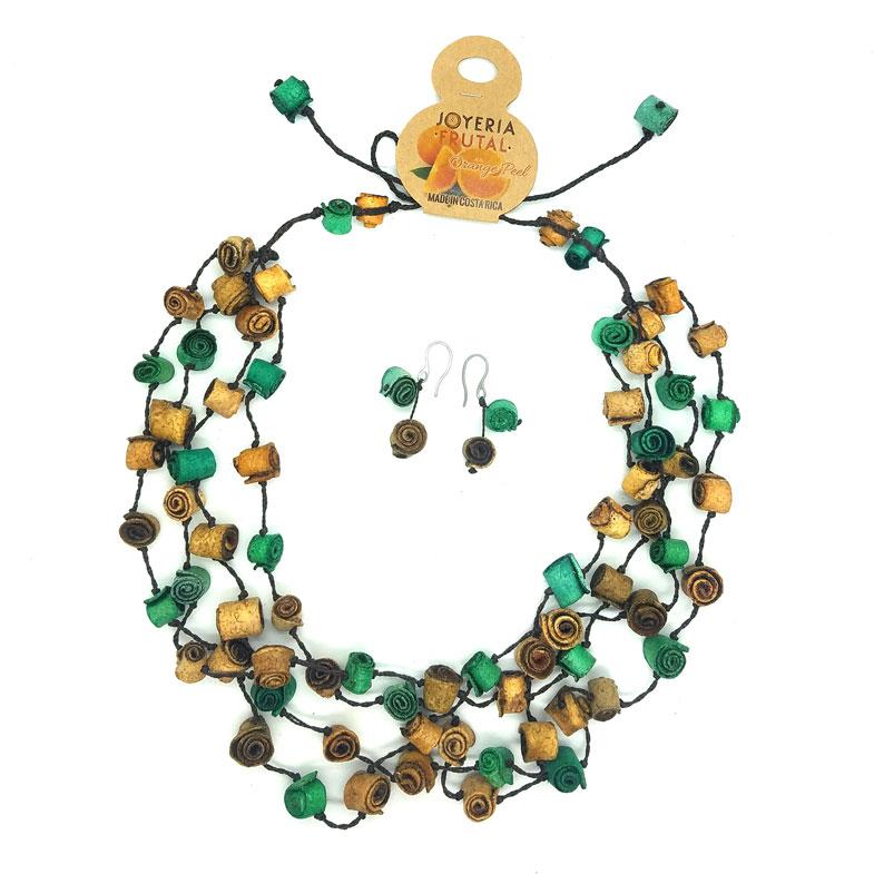 Collar rollitos de  naranja y aretes  - multicolor verdes