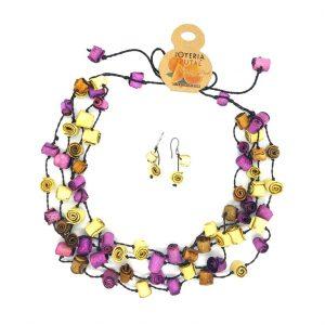 Collar rollitos de  naranja y aretes  - tonos violetas