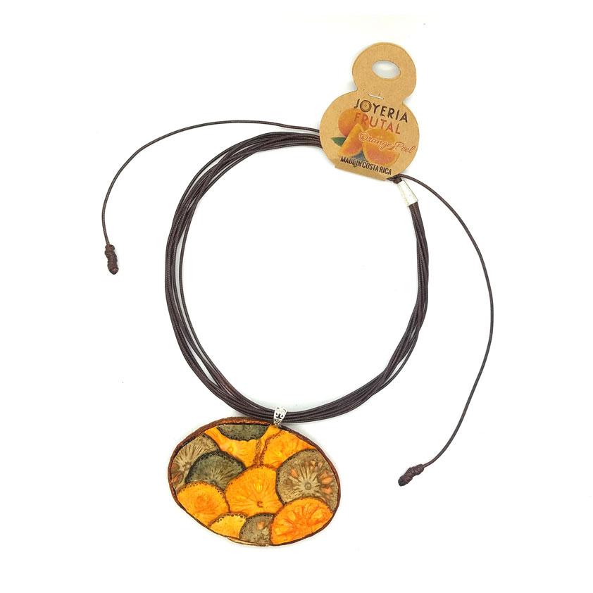 Collar prensado con cáscaras de naranja - Oval tonos otoñales
