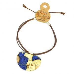 Collar prensado en cascara de naranja - Medialuna tonos azul