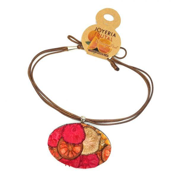 Collar prensado en cascara de naranja - Oval tonos rojos