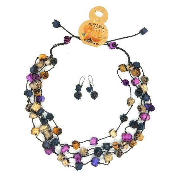 Collar rollitos de  naranja y aretes  - multicolor violetas