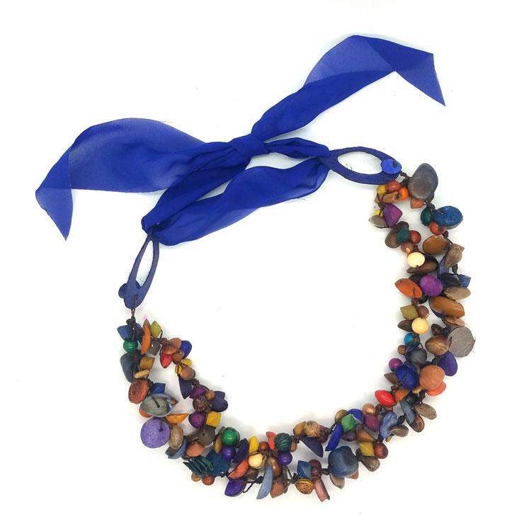 Collar semillas  mixtas de frutas - tonos azules